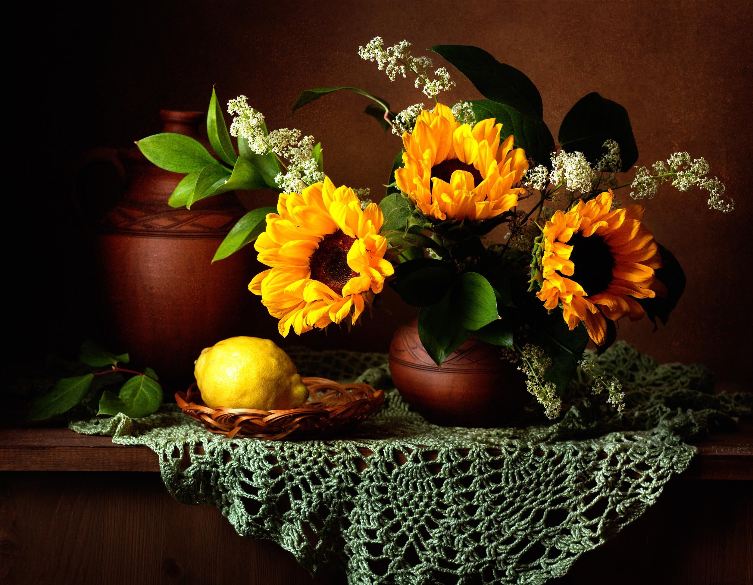 стол, ваза, цветы, лимон без смс