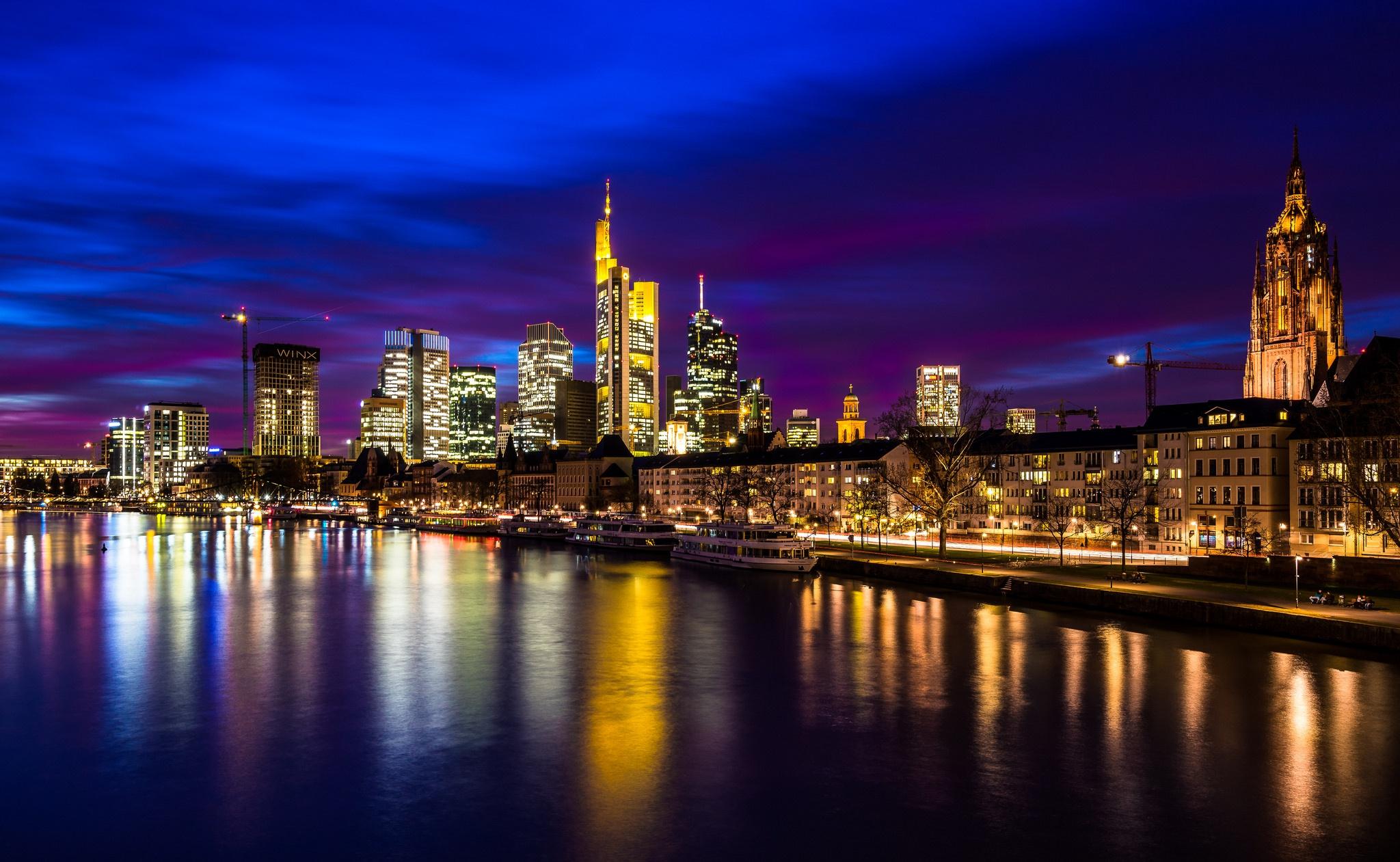 страны архитектура вечер город Франкфурт-на-Майне Германия  № 155599  скачать