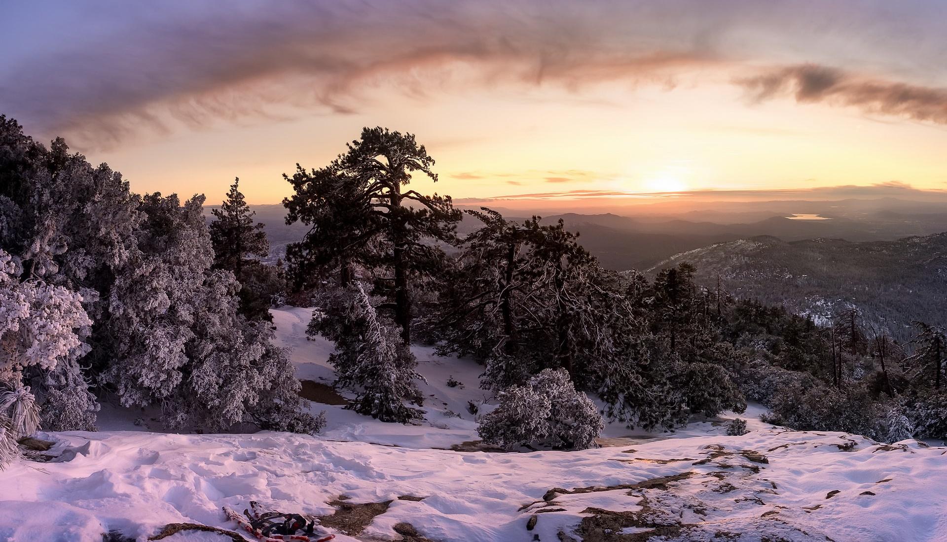 горы закат зима снег mountains sunset winter snow скачать
