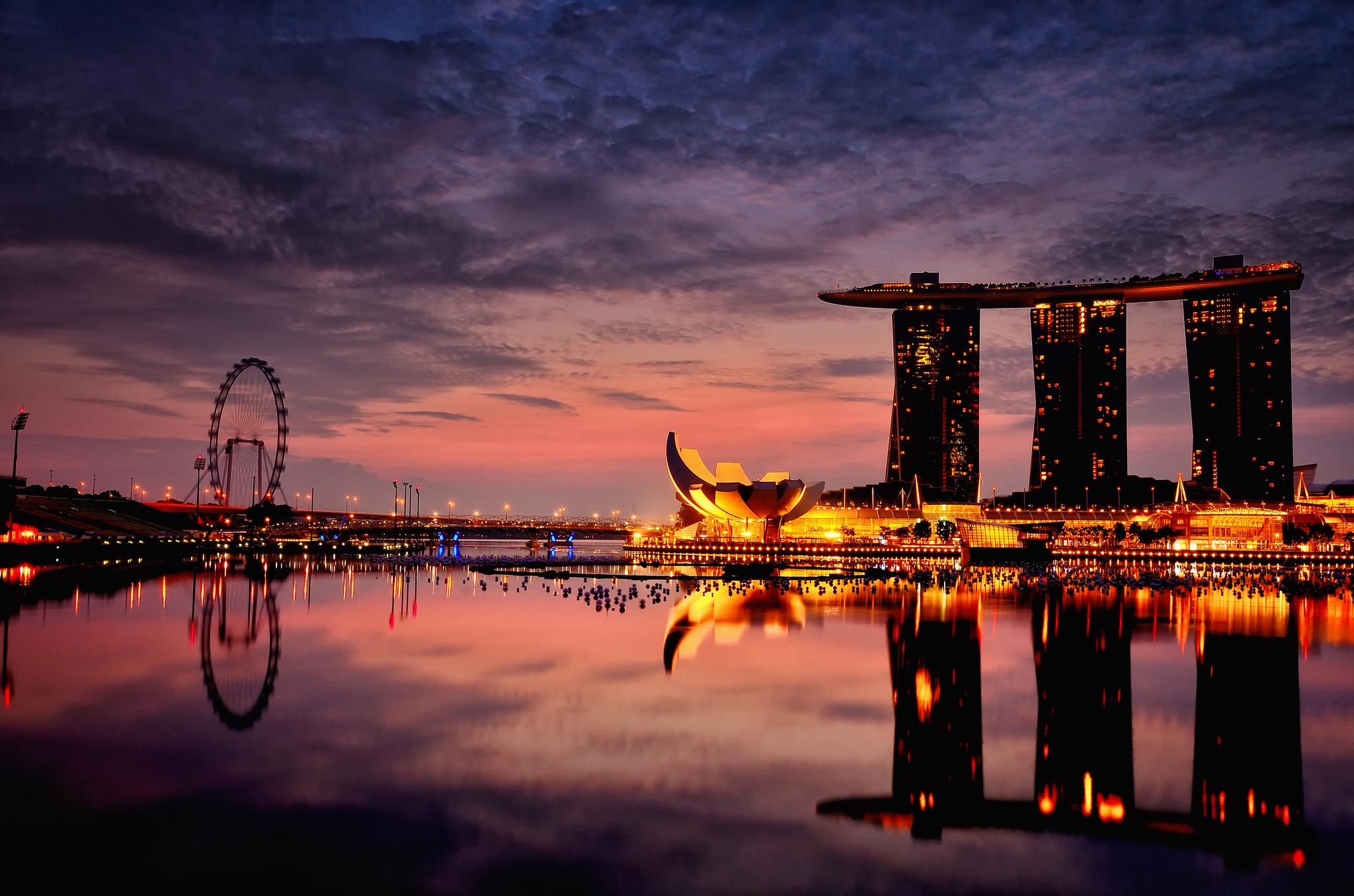 страны архитектура Сингапур ночь  № 1476006 без смс