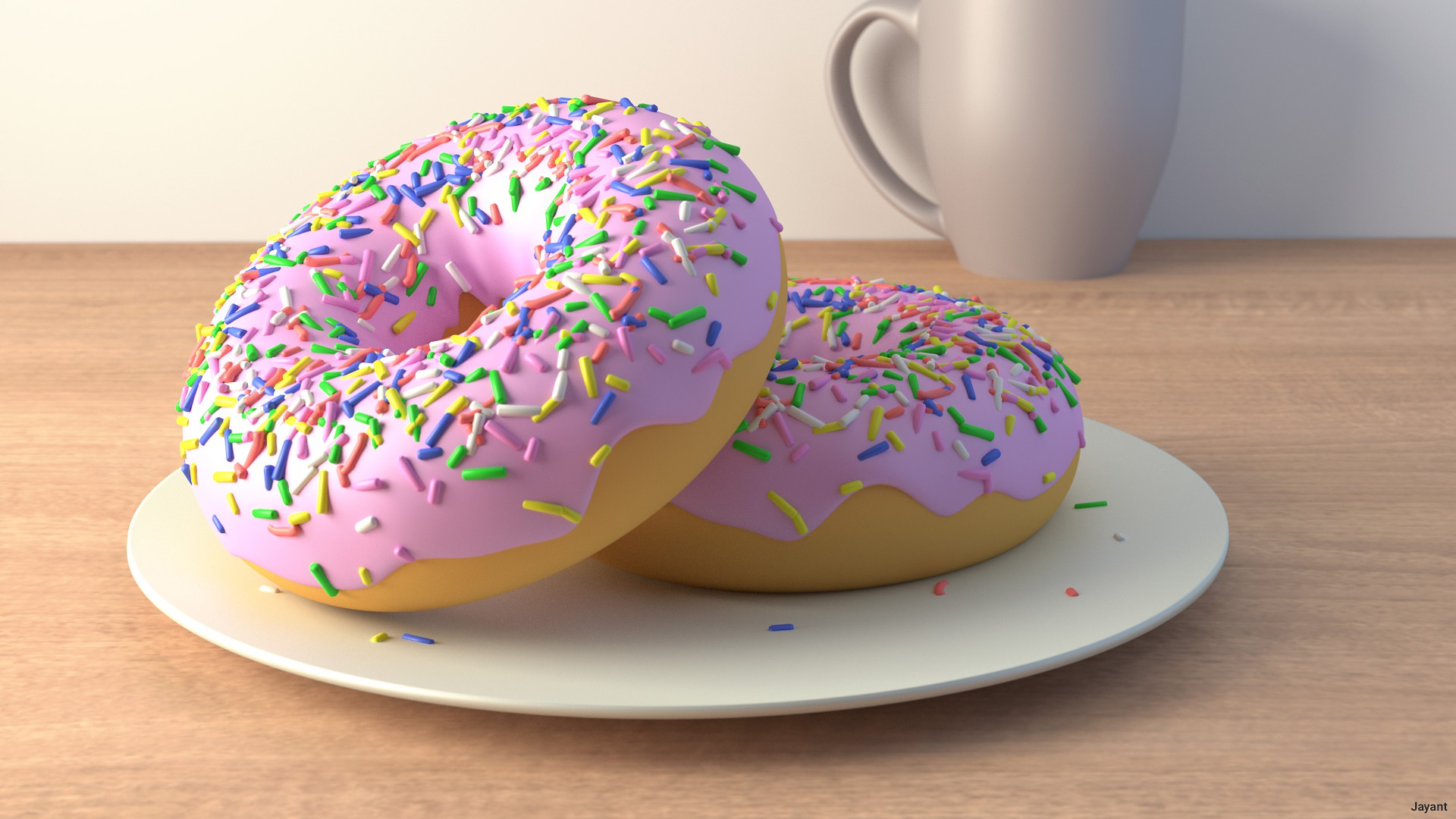 Пончик в белой глазури  № 3681645 загрузить