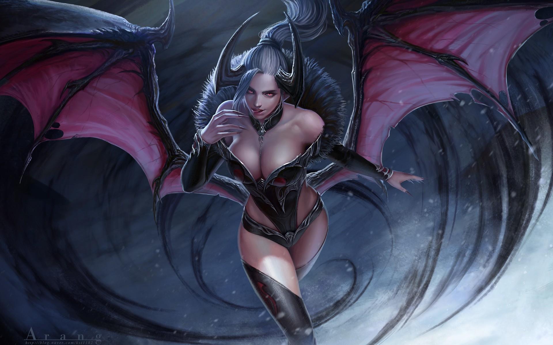 Hot naked anima demon girl nude image