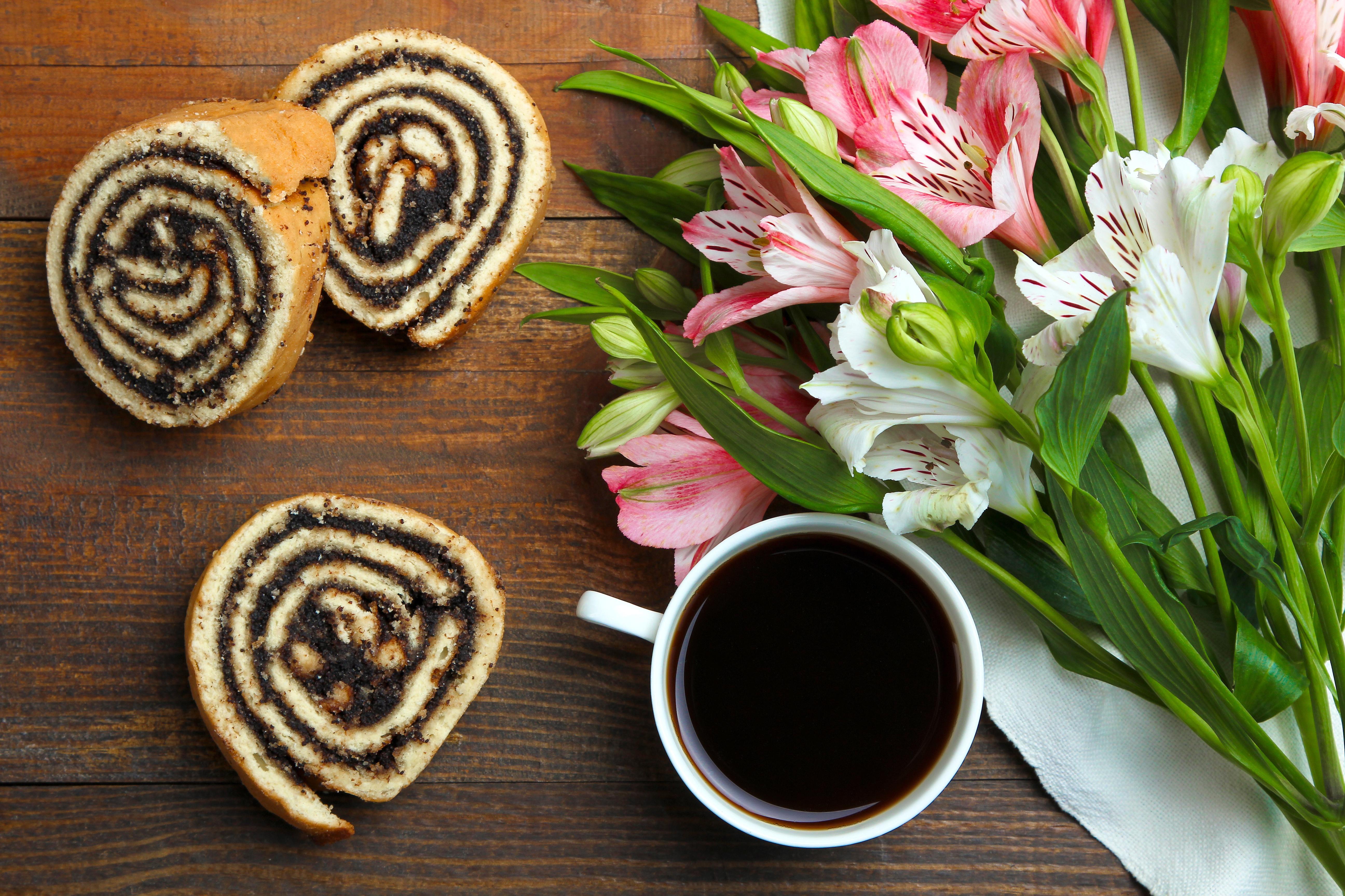 Картинки с цветами и кофе, открытка стиле скрапбукинга