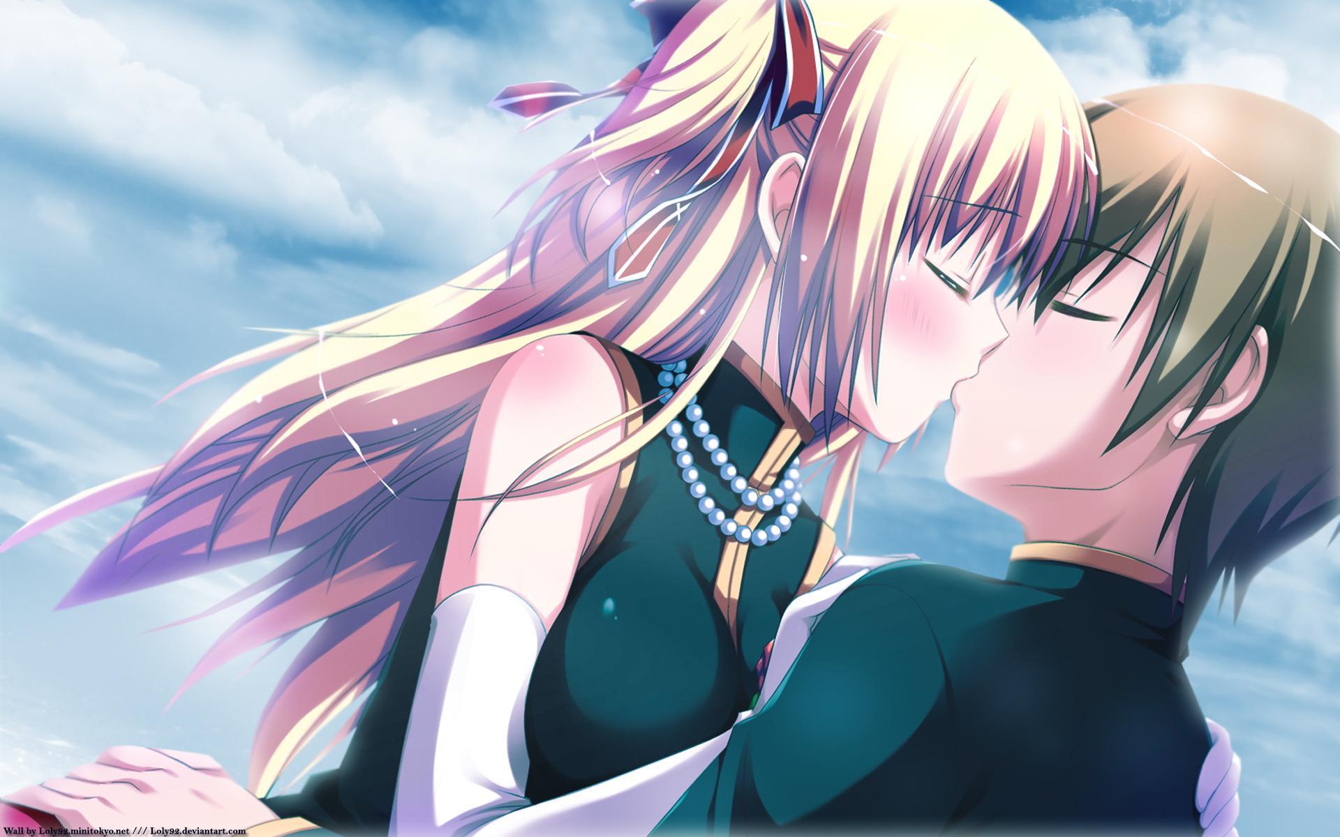 Открытки поцелуи аниме