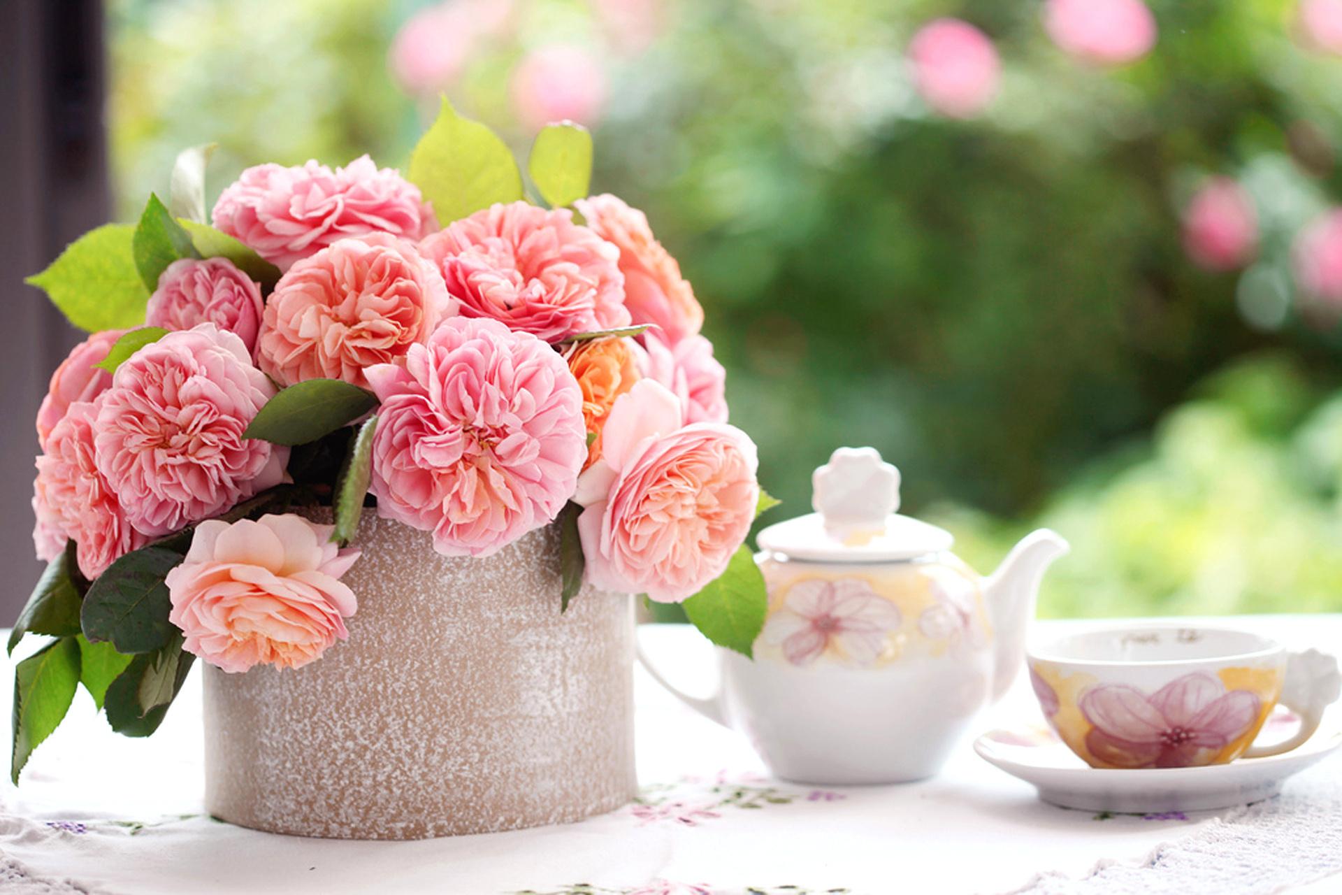 Хозяйство цветы, букет утренний
