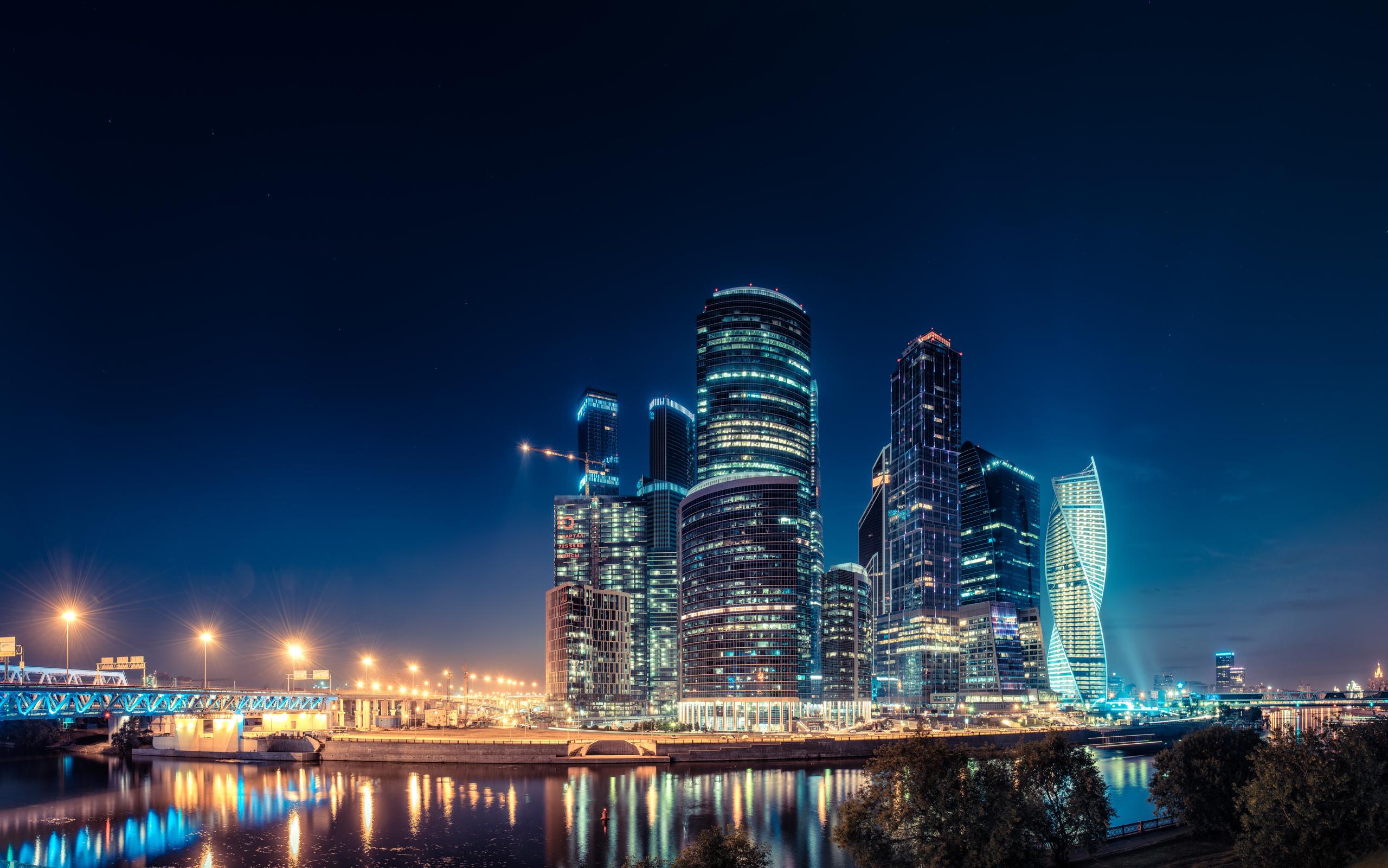 страны город архитектура ночь Москва сити Россия  № 2582831 бесплатно
