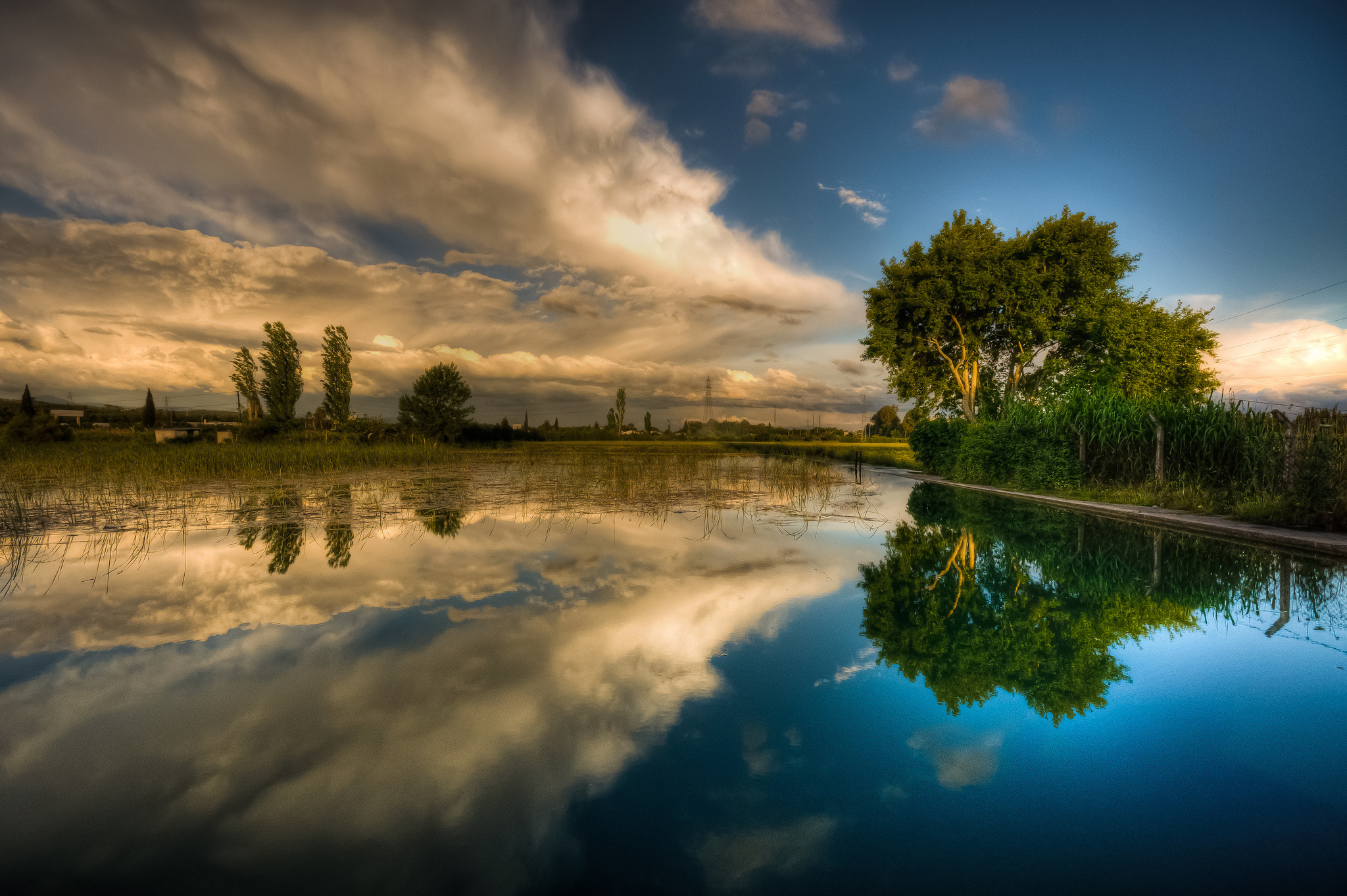 природа река деревья облака небо  № 316584  скачать
