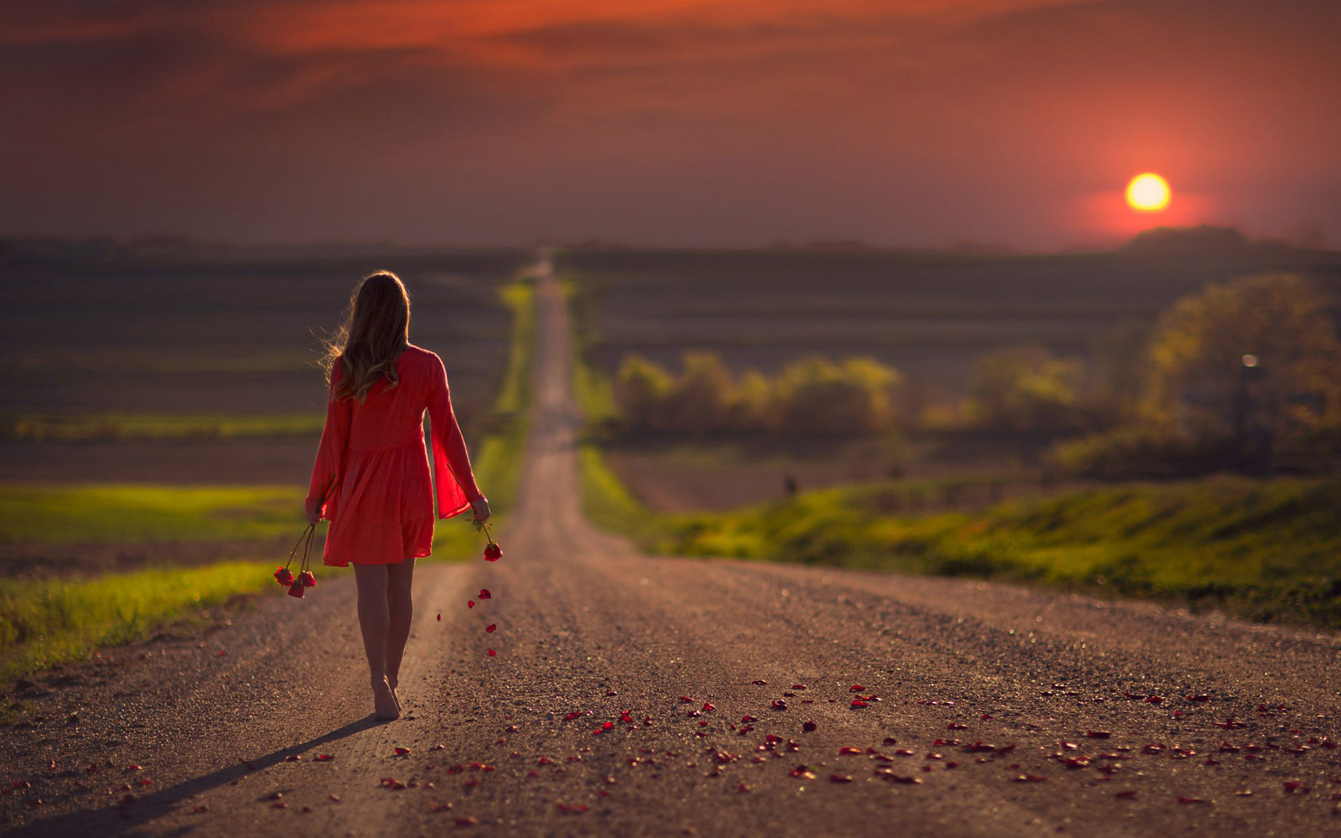 Картинки девушка уходит в даль по дороге