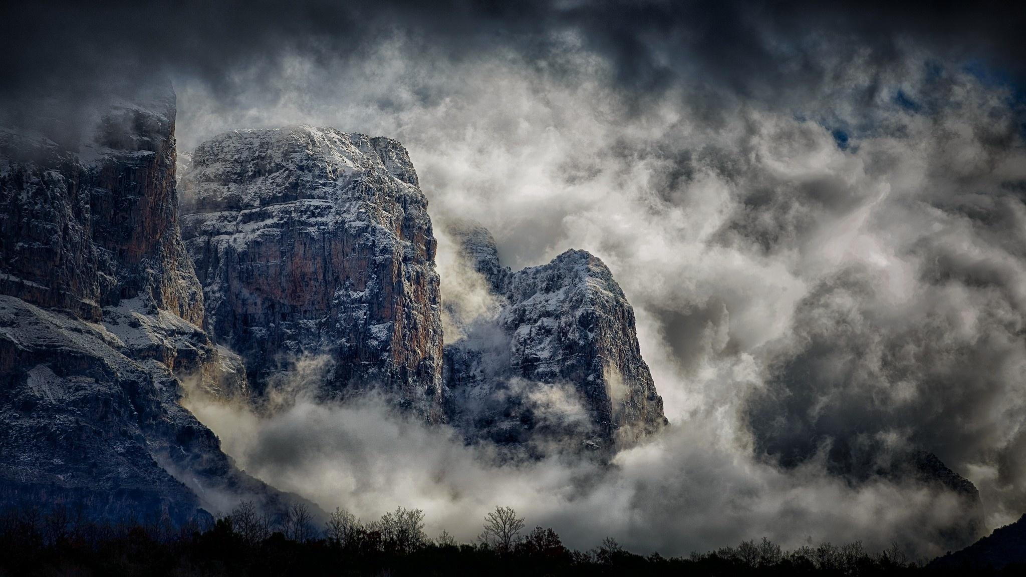туман природа скалы небо облака анонимно