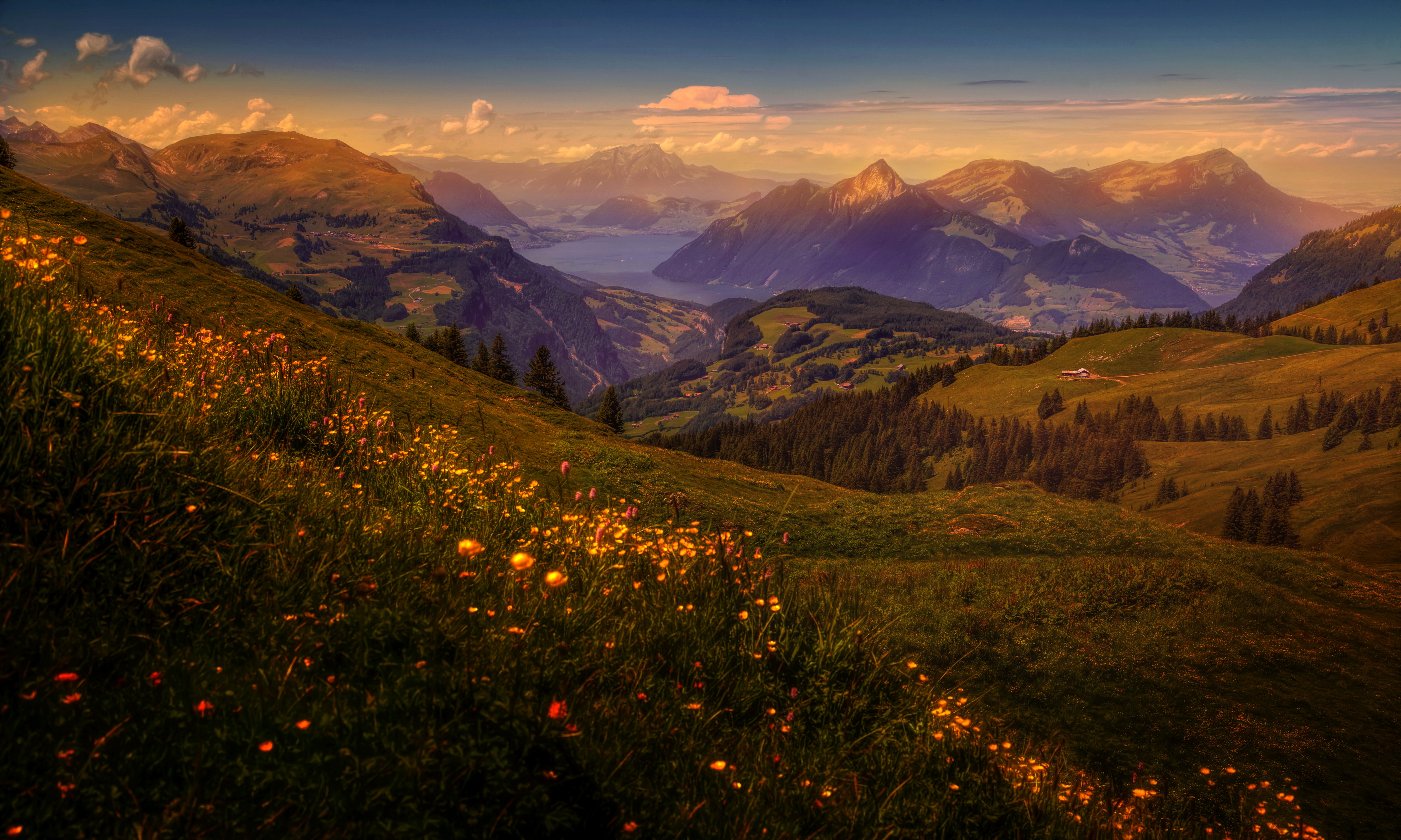 Швейцария Горы река деревья трава  № 184004  скачать