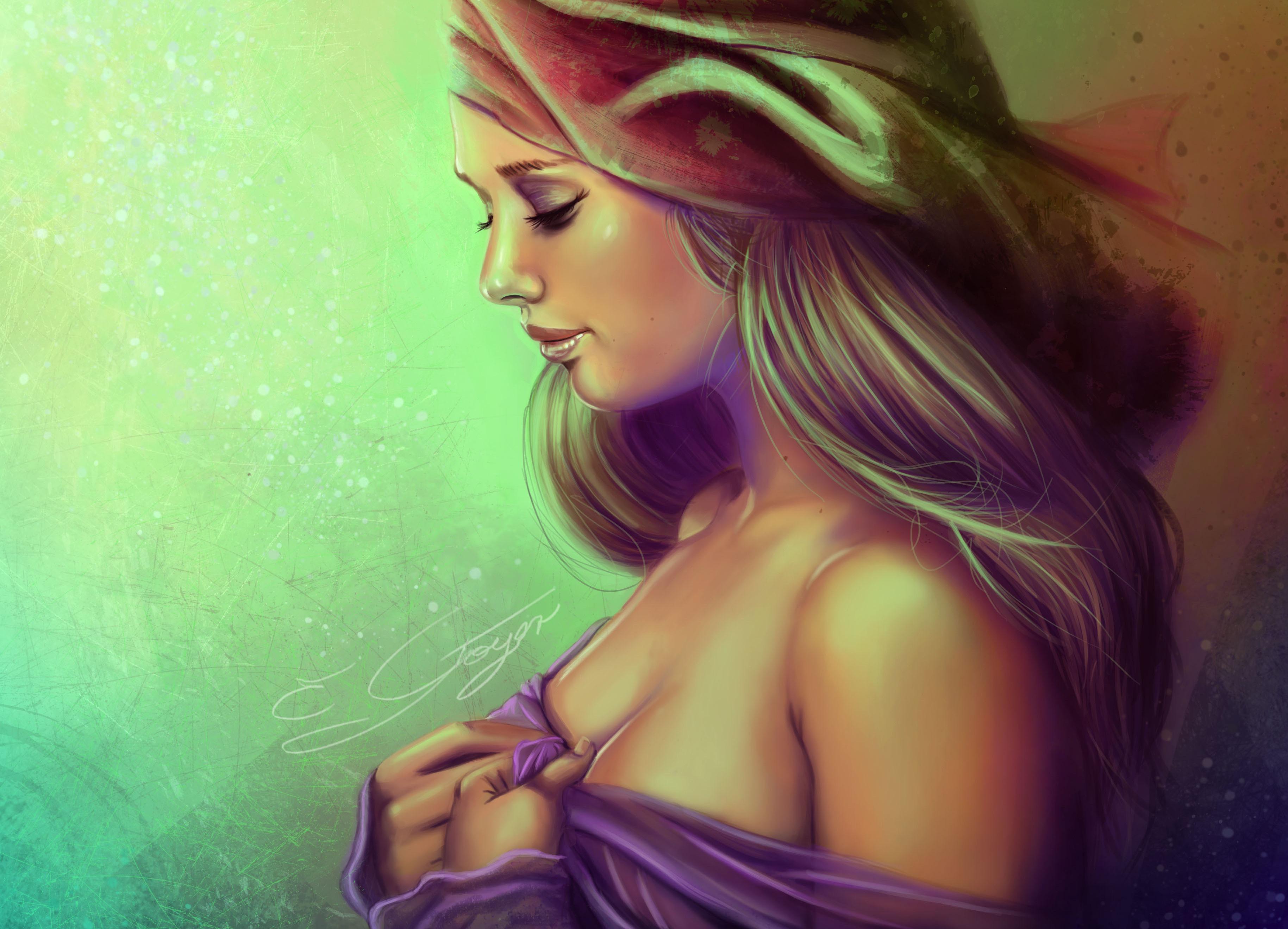 Картинка с профилем девушки красивая, днем рождения открытку