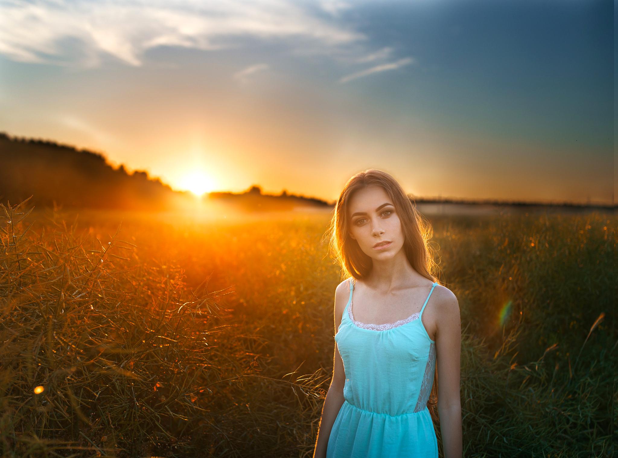 Закат природы девушки картинки