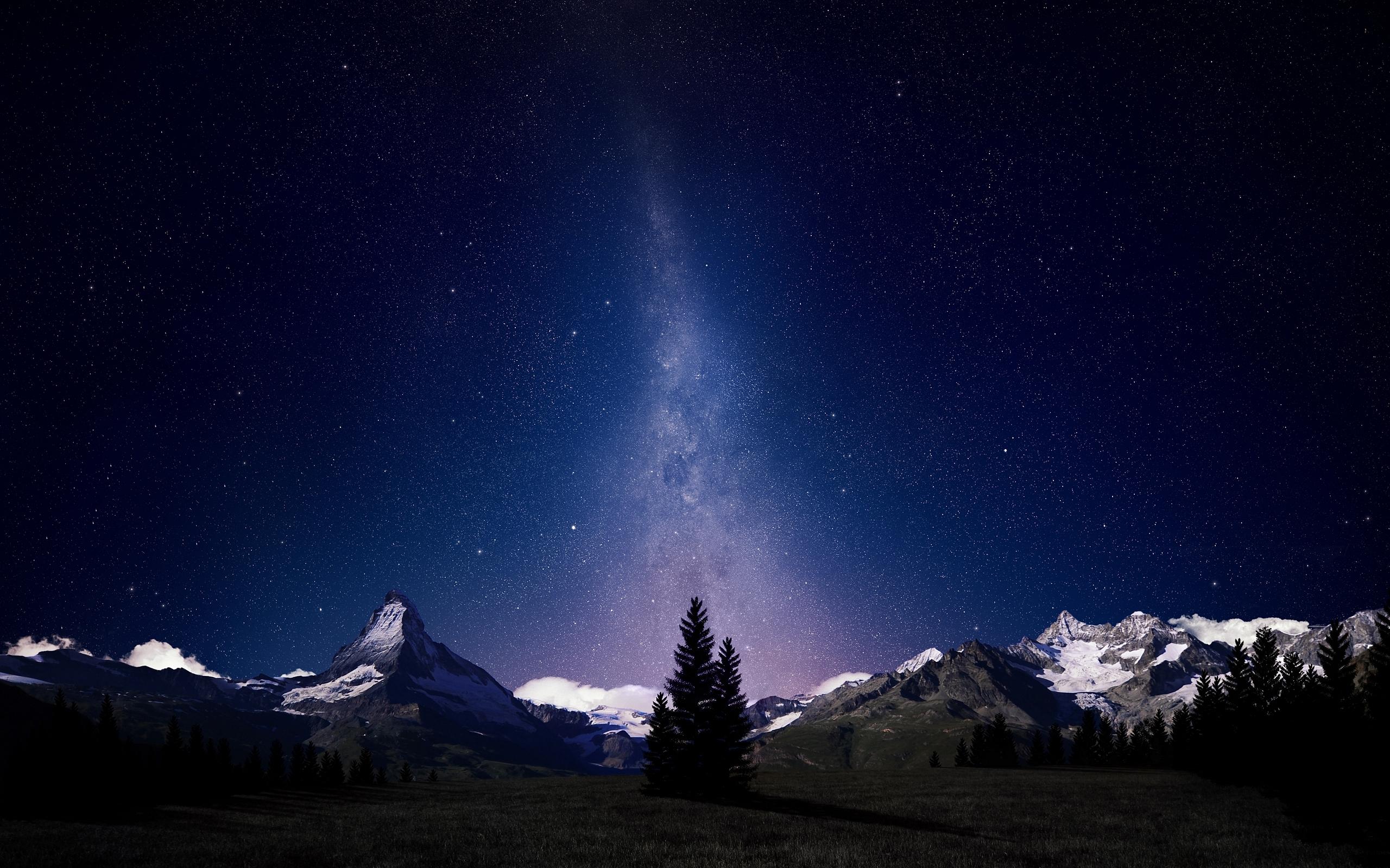 Картинки звездное небо горы