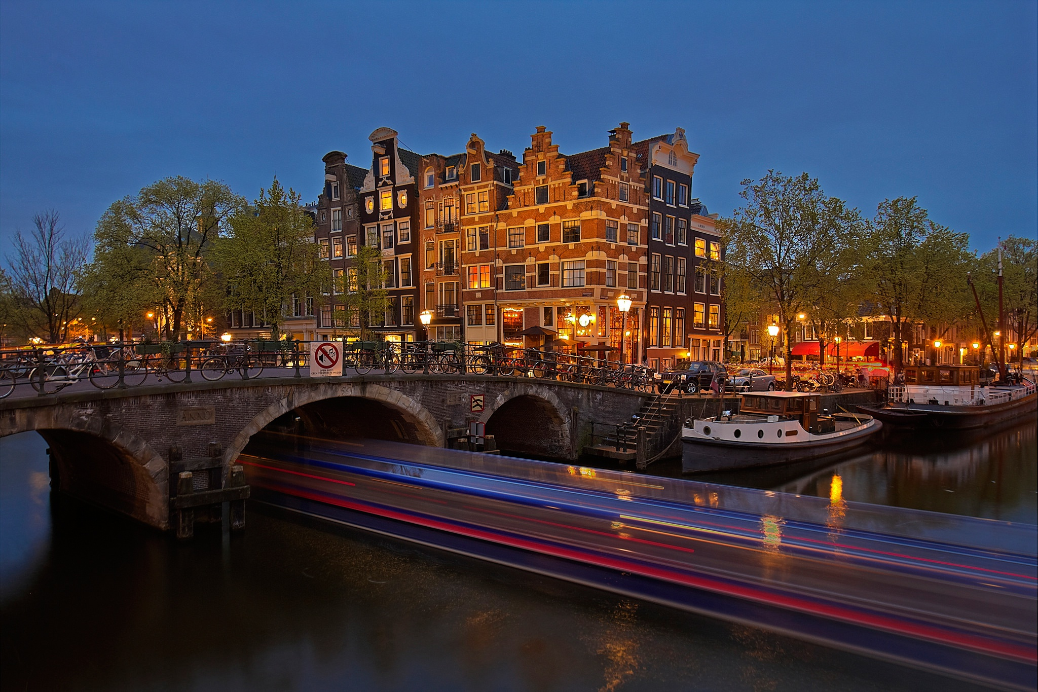 Обои канал, нидерланды, дома, ночь. Города foto 19