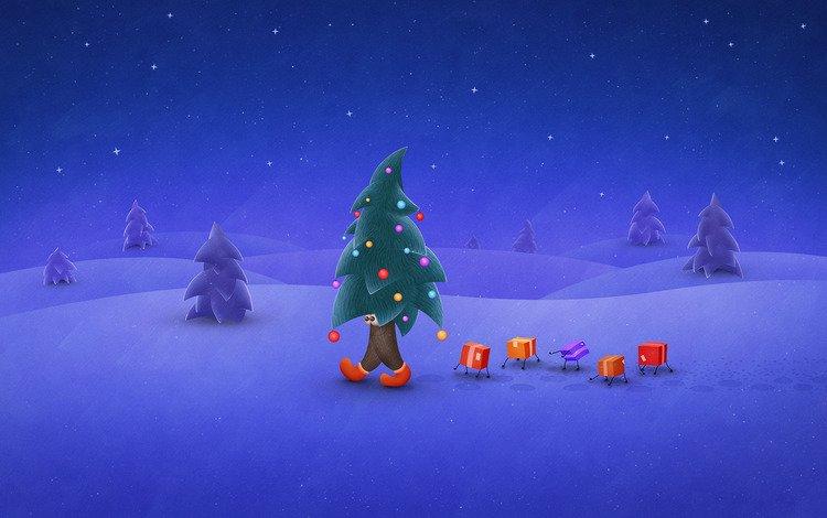 Снег ночь обои раздела праздники