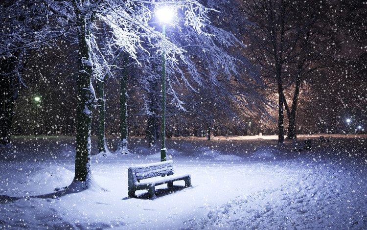 Скачать обои зима снег ночь лавка