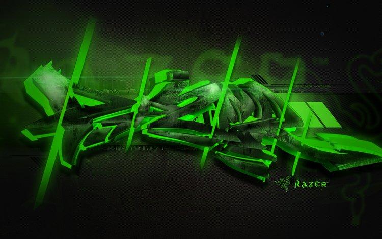 Скачать обои razer graffiti green обои