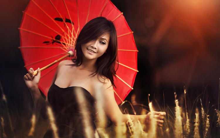 photo of girls with umbrellas № 22122