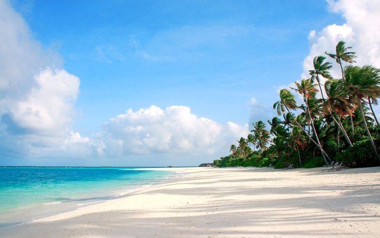 картинки на рабочий стол море пляж пальмы № 258660 загрузить