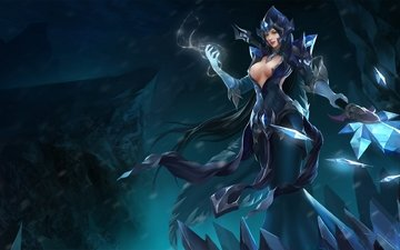 девушка, грудь, маг, heroes of newerth, hon, black ice ellonia, ellonia