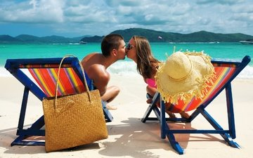 love, mood, sea, water, beach, man, boy, summer, nature, clouds, girl, relax, landscape, kiss, people, woman, sand, holiday, hat, couple, bag, situation, vacation, tropical, boats, feeling, islands, beach chairs, kissing, sunglass