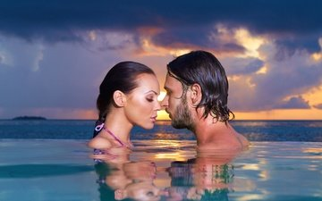 love, mood, sea, water, sunset, man, boy, sky, girl, landscape, woman, evening, couple, romantic, face, swimming pool, touching them, closeness, close eyes, sensuality, feeling, proximity