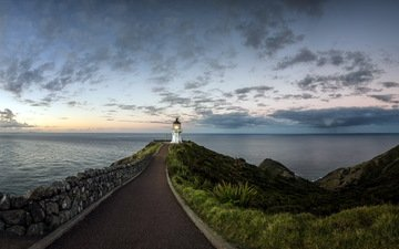 небо, дорога, маяк, горизонт, океан, cape reinga, northland